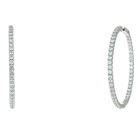 "Anna 2"" Inside Outside CZ Silver Hoop Earrings"