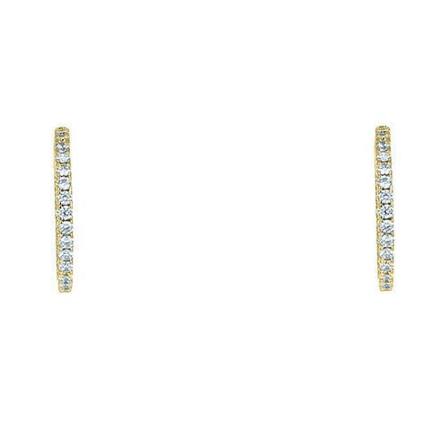 "Anna 1.25"" Inside Outside CZ Gold Hoop Earrings"