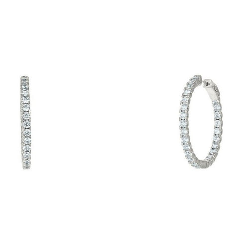 "Anna 1.25"" Inside Outside CZ Silver Hoop Earrings"