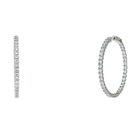 "Anna 1.6"" Inside Outside CZ Silver Hoop Earrings"