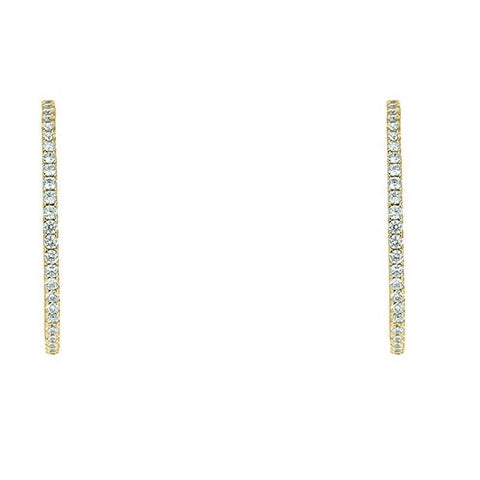 "Anna 2"" Inside Outside CZ Gold Hoop Earrings"