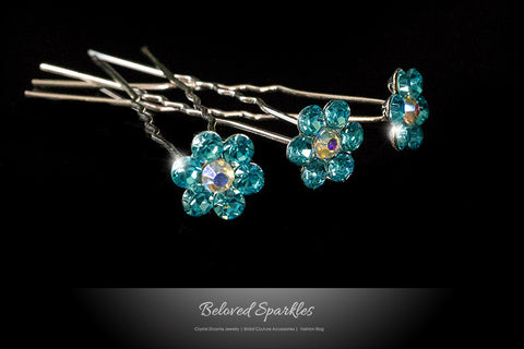 Stella-1 Aqua Blue Flower Hair Stick Pin | Rhinestone