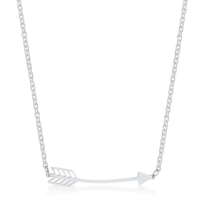 Arianna Silver Stainless Steel Arrow Necklace