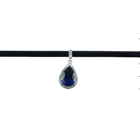 Aruna Sapphire CZ Pear Drop Black Leather Choker