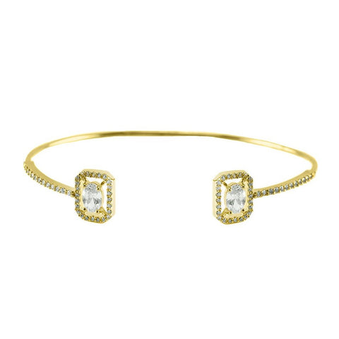 Asha CZ Oval Halo Opened Wire Gold Bracelet