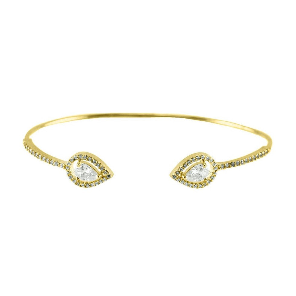 Ashla CZ Pear Halo Opened Wire Gold Bracelet