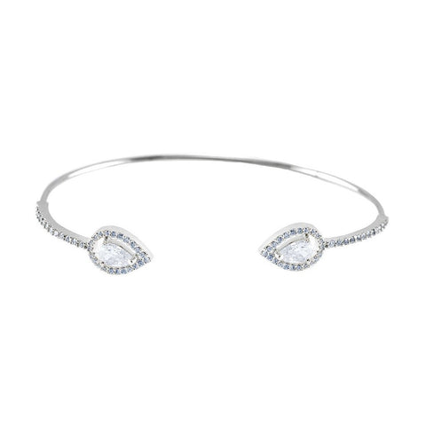 Ashla CZ Pear Halo Opened Wire Silver Bracelet