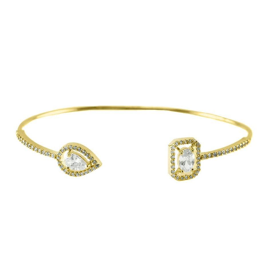 Ashan CZ Halo Delicate Opened Wire Gold Bracelet