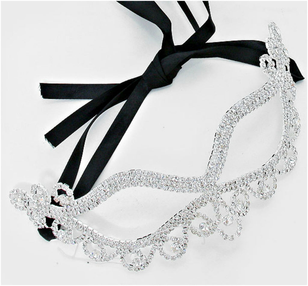 Bahati Swirl Filigree Cat Eye Masquerade Mask | Silver | Crystal - Beloved Sparkles  - 1