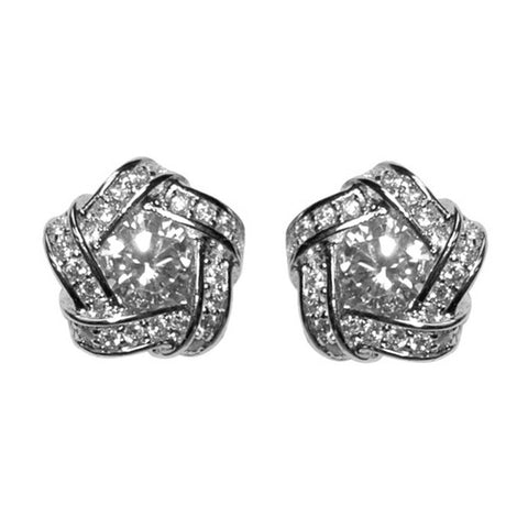 Bakara Pentagon Halo CZ Stud Earrings