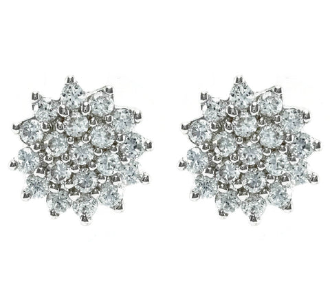 Bakura Pave Cluster CZ Stud Earrings | Cubic Zirconia | Silver