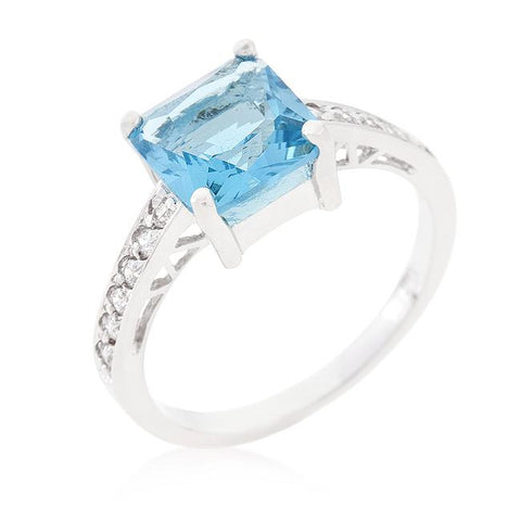Barrie Aqua Blue Princess Solitaire Ring | 2.5ct | Sterling Silver