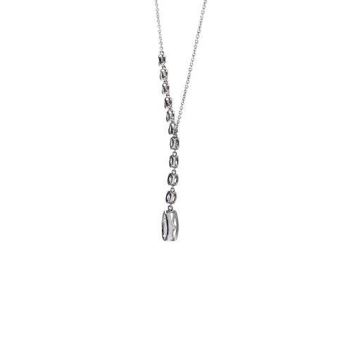 Beatrice Pear Drop CZ Bezel Dangle Lariat Necklace