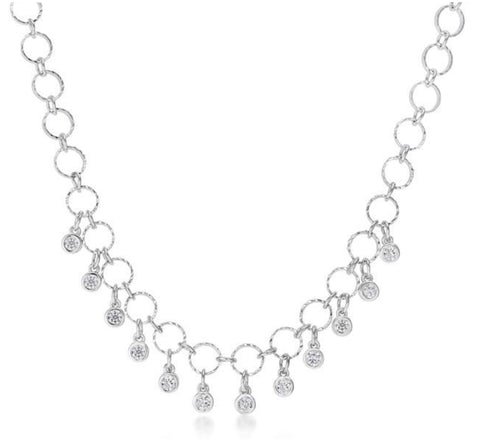 Beeja Dangle CZ Charm Rhodium Necklace