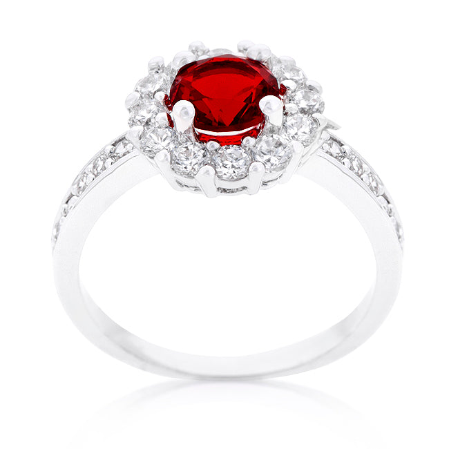Belle Garnet Red Halo Engagement Cocktail Ring | 2.5ct | Cubic Zirconia - Beloved Sparkles  - 1