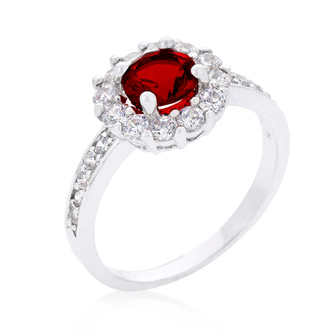Belle Garnet Red Halo Engagement Cocktail Ring | 2.5ct
