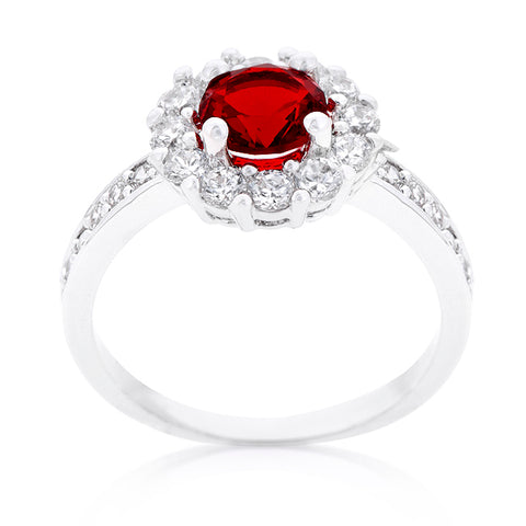 Belle Garnet Red Halo Engagement Cocktail Ring | 2.5ct | Cubic Zirconia | Silver