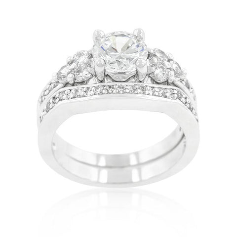 Bella 1(ct) Round Triple Stone Engagement and Wedding Ring Set | 4ct