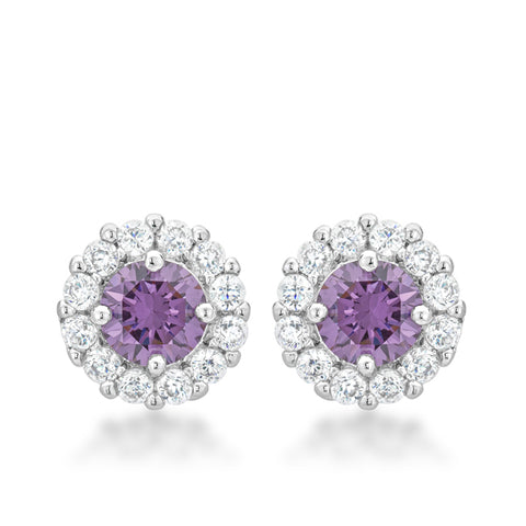 Belle Amethyst Purple Halo Stud Earrings | 2.5ct
