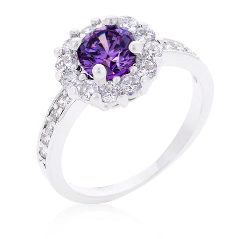 Belle Amethyst  Purple Halo Engagement Cocktail Ring | 2.5ct | Cubic Zirconia