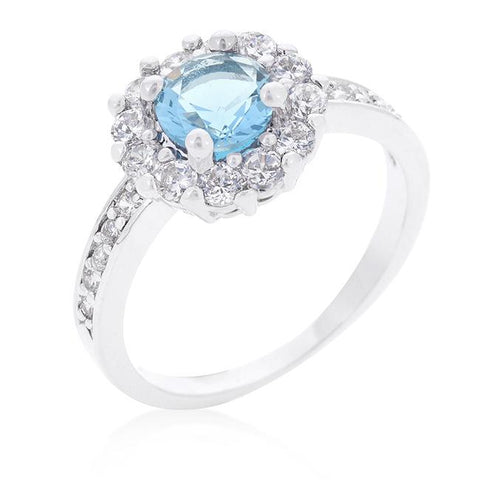 Belle Blue Topaz Halo Engagement Cocktail Ring | 2.5ct