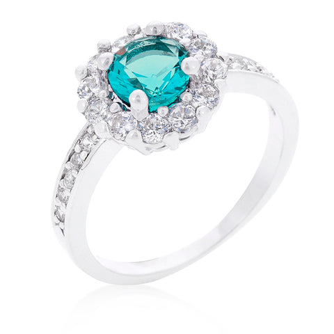 Belle Aqua Blue Halo Engagement Cocktail Ring | 2.5ct | Cubic Zirconia | Silver