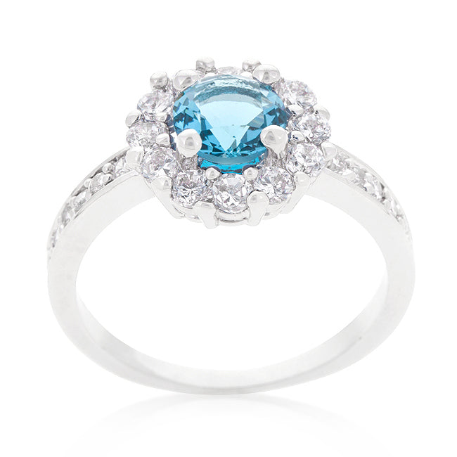 Belle Blue Topaz Halo Engagement Cocktail Ring | 2.5ct | Cubic Zirconia - Beloved Sparkles  - 1