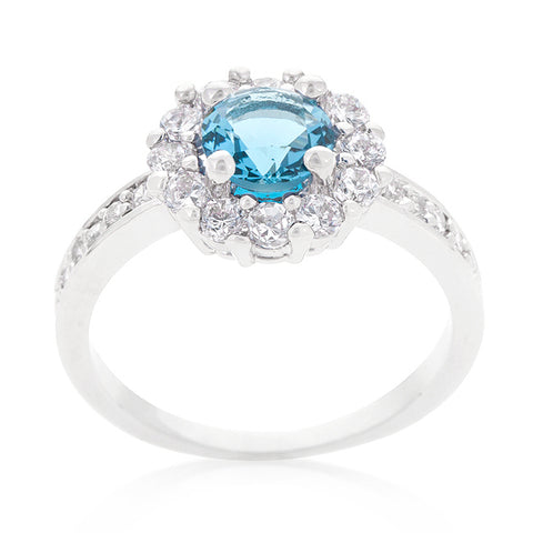Belle Blue Topaz Halo Engagement Cocktail Ring | 2.5ct | Cubic Zirconia