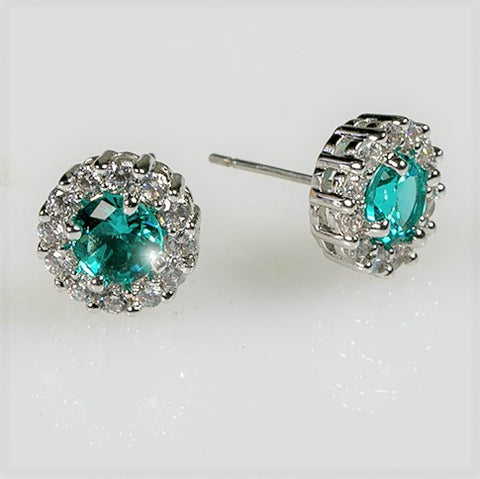Belle Aqua Blue Halo Stud Earrings