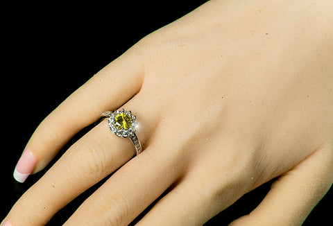 Belle Canary Yellow  Halo Engagement Cocktail Ring | 2.5ct