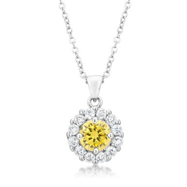 Belle Canary Halo Round  Pendant | 4ct