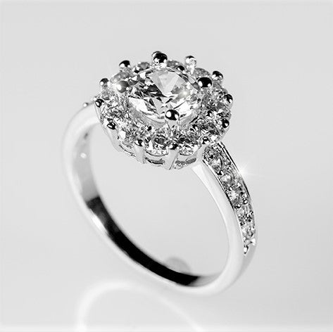 Belle Clear Round Halo Engagement Ring | 2.2ct