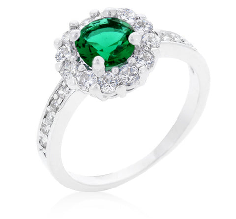 Belle Emerald Green Halo Engagement Cocktail Ring | 2.5ct | Cubic Zirconia