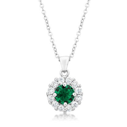 Belle Emerald Green Round Pendant | 4ct