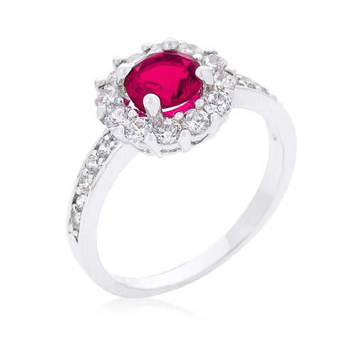 Belle Pink Round Halo Engagement Ring | 2.2ct | Cubic Zirconia
