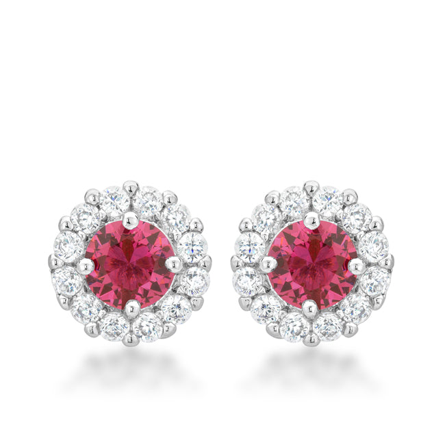 Belle Pink Rose Halo Stud Earrings