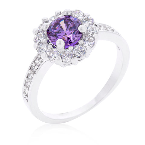 Belle Lt Amethyst Halo Engagement Cocktail Ring | 2.5ct | Cubic Zirconia