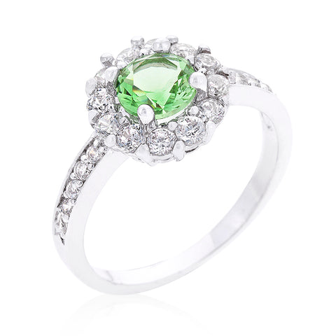 Belle Peridot Green Halo Engagement Cocktail Ring | 2.5ct