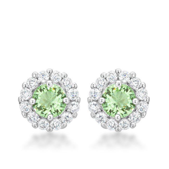 Belle Peridot Green Halo Stud Earrings