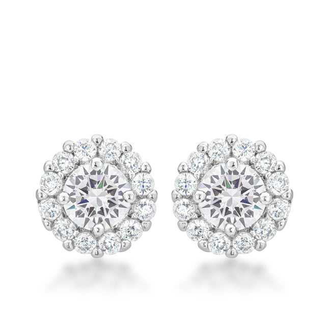 Belle Clear Round Halo Stud Earrings | 5ct | Cubic Zirconia - Beloved Sparkles  - 1