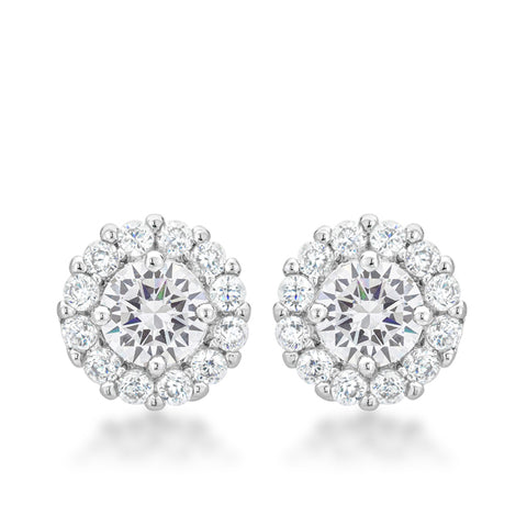 Belle Clear Round Halo Stud Earrings | 2.5ct | Cubic Zirconia
