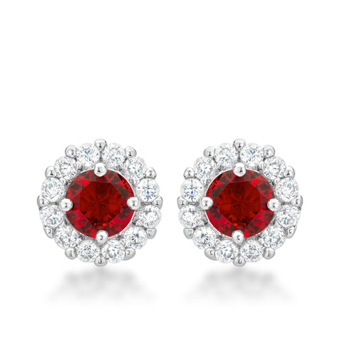 Belle Ruby Red Halo Stud Earrings