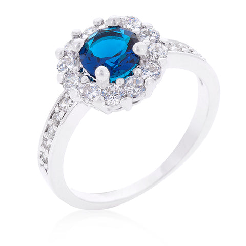 Belle Sapphire Blue Halo Engagement Cocktail Ring | 2.5ct | Cubic Zirconia