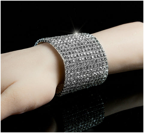 Nicky-2 13 Rows Rhinestone Stretch Bracelet