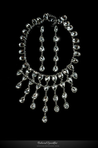 Krista Art Deco Draping Necklace | Crystal - Beloved Sparkles  - 1