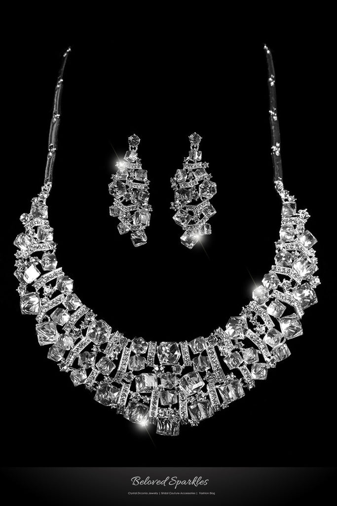 Daja Art Deco Cube Confetti Cluster Bib Necklace Set | Crystal - Beloved Sparkles