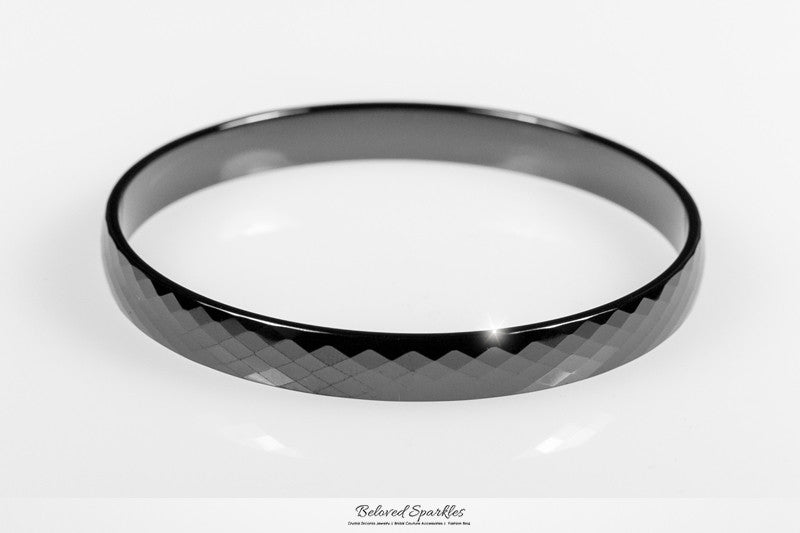 Laurette Black Hematite Ceramic Bangle Bracelet  | Ceramic - Beloved Sparkles  - 1