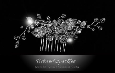 Derica Curved Leaves Hair Comb | Swarovski Crystal