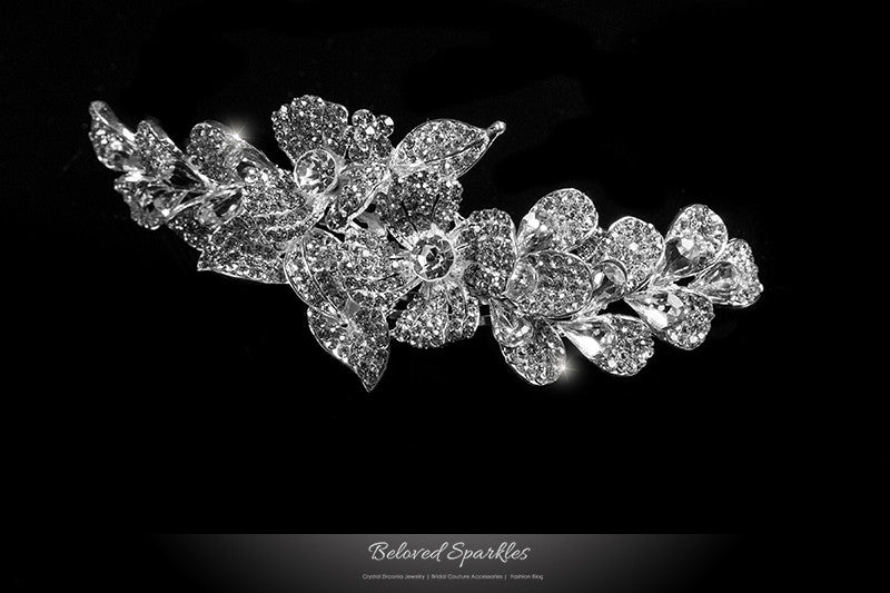 Jetta Delicate Floral Hair Comb | Crystal - Beloved Sparkles  - 1