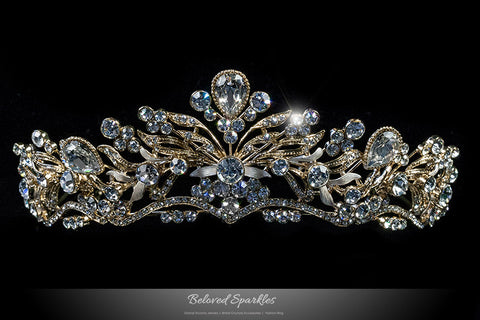 Sabella Victorian Art Deco Gold Tiara | Swarovski Crystal - Beloved Sparkles  - 1